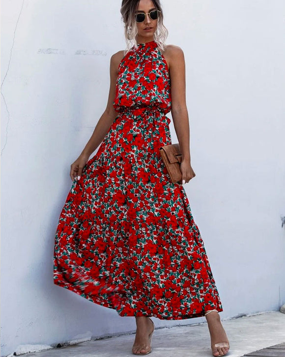 Floral Red Bohemian Boho Printed Hanging Neck Straps Maxi Dresses