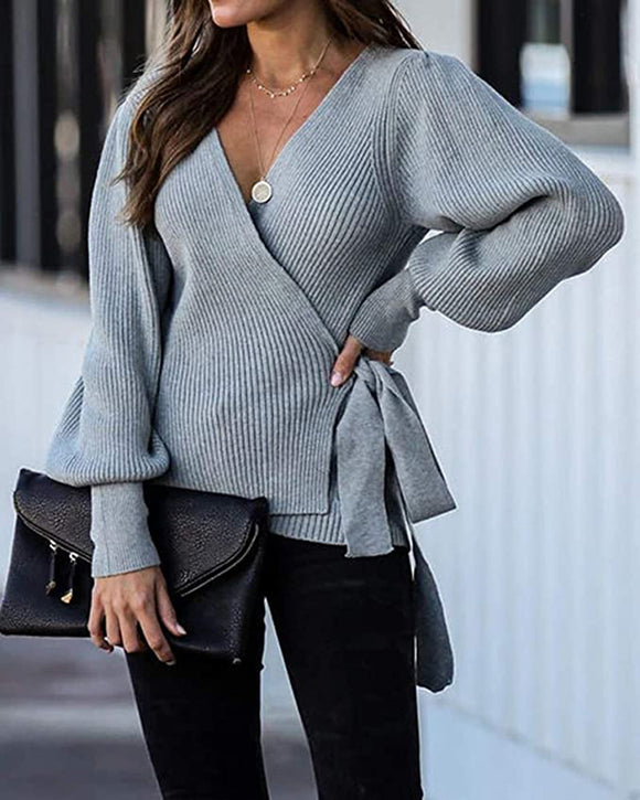 Lantern Sleeve Bow Tie V-neck Knit Sweaters Cardigans