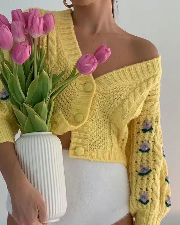 Bubble Sleeve Single-breasted Knitting Sweater Cardigan