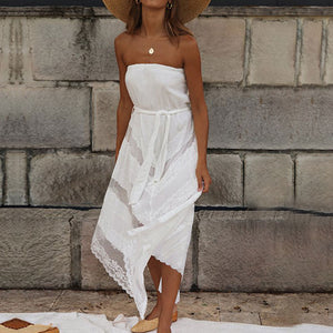 Chest Wrap Irregular White Dress