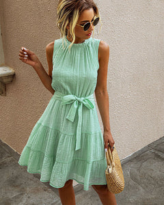 Womens Sleeveless Lace-up Pleated Dress Mini A Dress Green