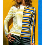 Women's Loose Round Neck Stripe Splicing Long Sleeve T-Shirt