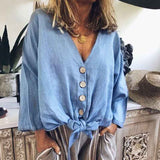 Women Thin Light V Neck Single-Breasted Leisure Loose Shirt Blouse