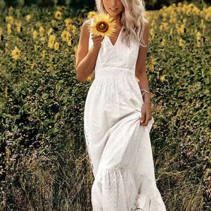 V-neck Hollwed-out Embroidered Maxi Dress Cotton Ruffled Dress