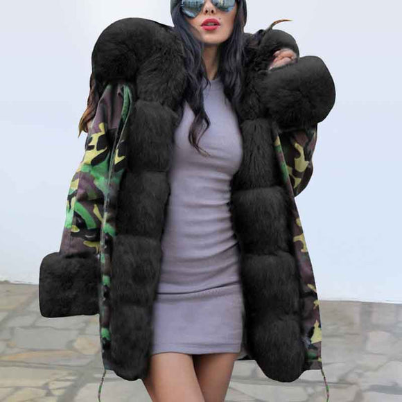 Women's Warm Camouflage Hooded Plush Coat