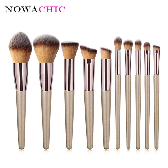 10Pcs Champagne Gold Makeup Brushes Powder Foundation Blush Blending Eyeshadow Cosmetic Beauty Brush