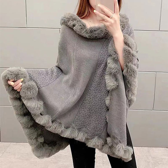 Pullover Hem Fur Collar Sweater Cloak Shawl Cape