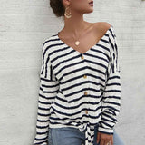 Women V-Collar Single Breasted Stripe Long Sleeve Sweater Cardigan Shirt