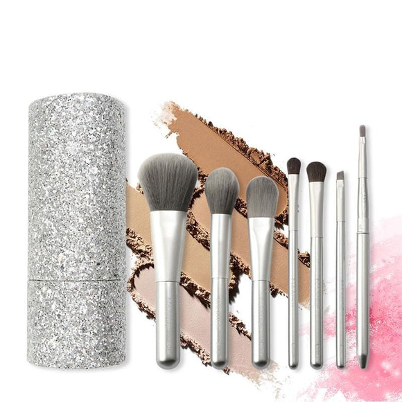 7pcs Silver Makeup Brushes Set With Diamond Brush Bucket, Foundation Blush Beauty Tool