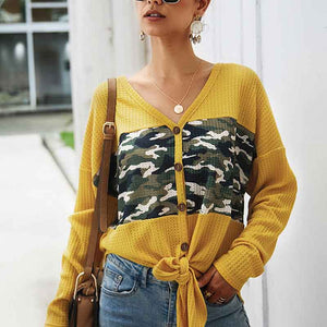 Women V-Collar Camouflage Splice Single Breasted Long Sleeve Sweater Cardigan
