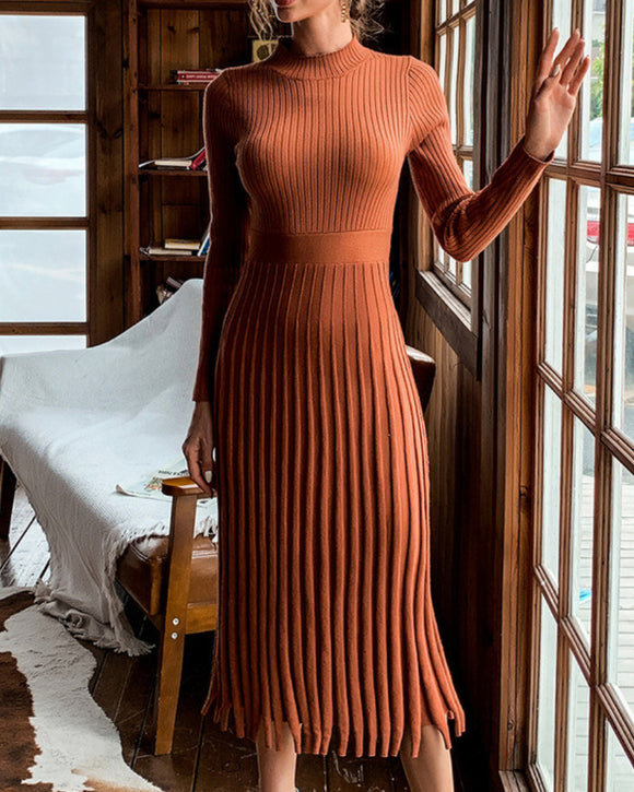 Knit Round Neck Long Sleeve Sweater Midi Dresses