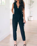 Black Sexy Deep V-neck Lace Pocket Straps Jumpsuit