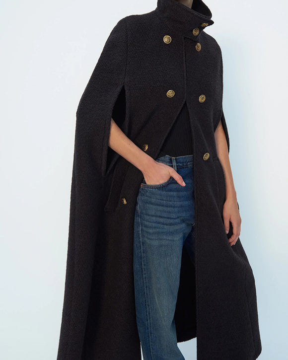 Stand Collar Double Breasted Cloak Tops Outerwear