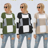 Plaid Knit Oversize Contrast Color Sweaters