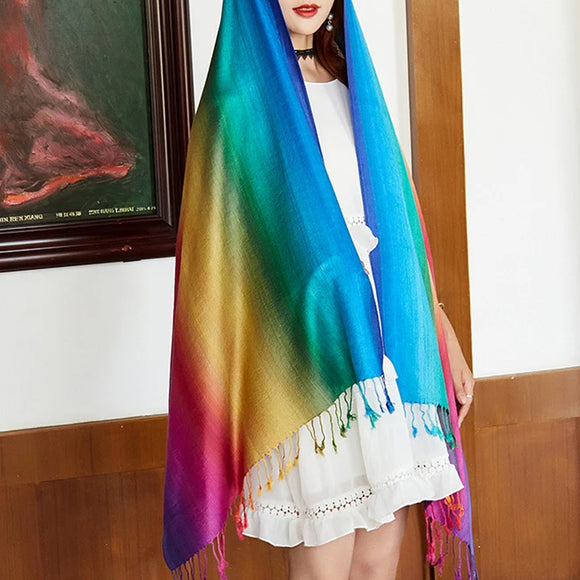 Ethnic Style Rainbow Gradient Color Long Soft Neck Scarf Wrap Shawl for Ladies Girls Women
