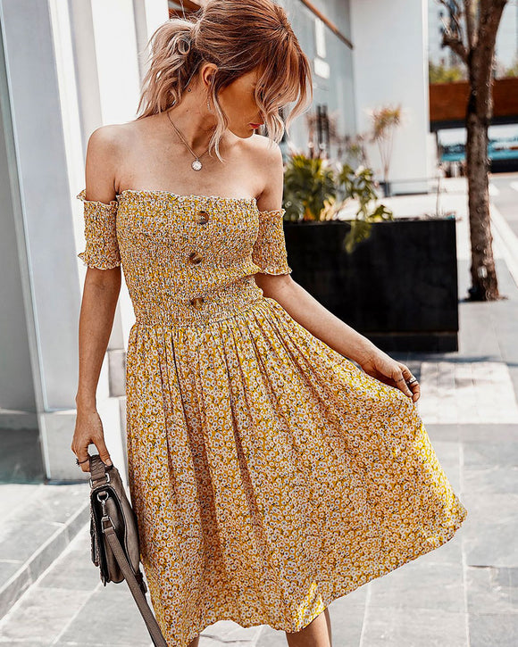 Floral Flower Off The Shoulder Strapless Midi Maxi Dresses