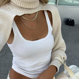 Casual Turtleneck Lantern Sleeve Cutout Cropped Knit Sweater Camel