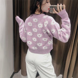 Single-breasted Flower Pattern Embroidery Knit Cardigan Sweater Outerwear