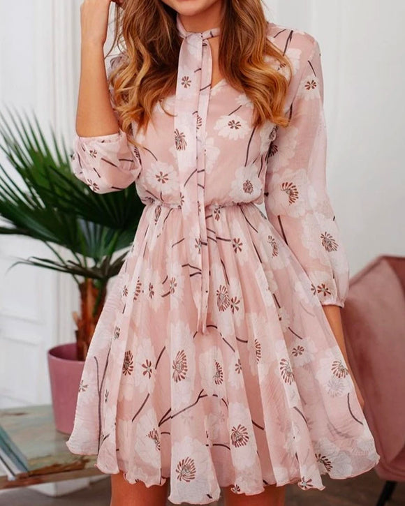 Lace-Up Printed Dress 3/4 Sleeve Floral Mini Dress