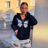 Round Neck Butterfly Beads Shirts Blouses Hoodies Sweatshirts