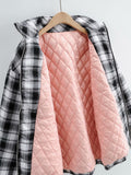 Zipper Stand Collar Geometry Plaid Elastic Sleeves Outerwear