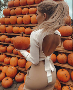 High Collar Bow Knot Backless Knit Sweaters Apricot