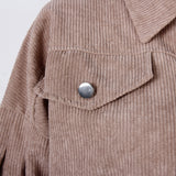 Corduroy Lantern Sleeve Single-breasted Lapel Cardigans Outerwear
