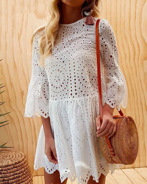 Sexy Button Lace Round Neck Ruffled Mini Dresses