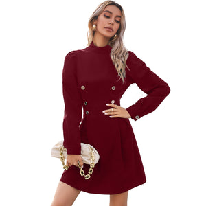 Double Breasted High-collared Puff Sleeve Skater Mini Dresses