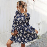 Round Neck Floral High-collared Skater Mini Dresses