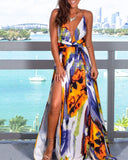 Sexy Sling Colorful Floral Evening Party Maxi Dresses