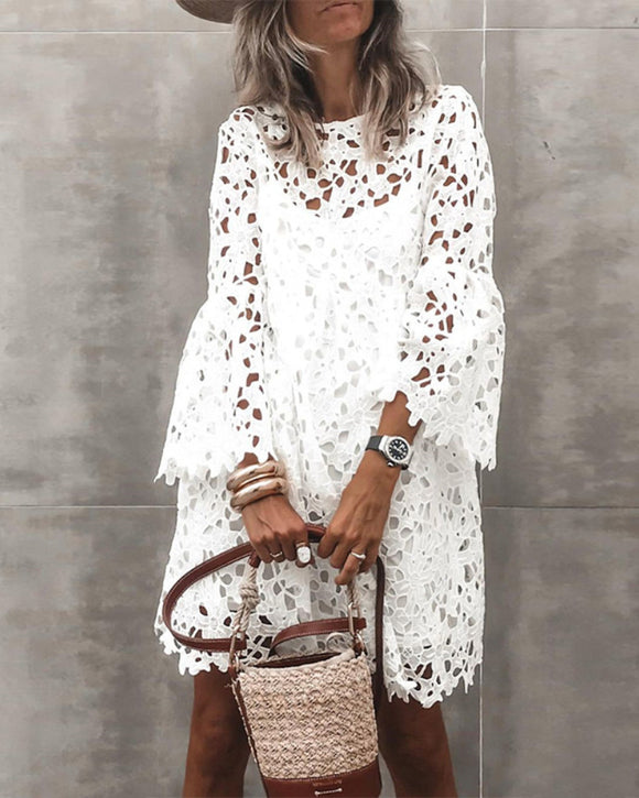 V-neck Lace Flared Sleeve Ruffled Mini Dresses