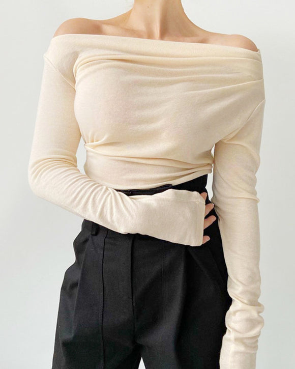 Casual Off One Shoulder Long Sleeve Knit Blouses
