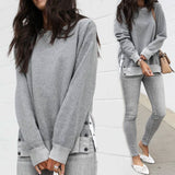 Women Round Neck Button Long Sleeve Sweater
