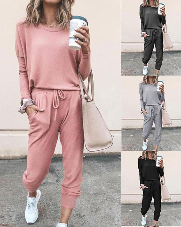 Round Collar Lace-up Long Sleeve Casual Two-piece Sport Set Home Workout Fitness Home Outfit