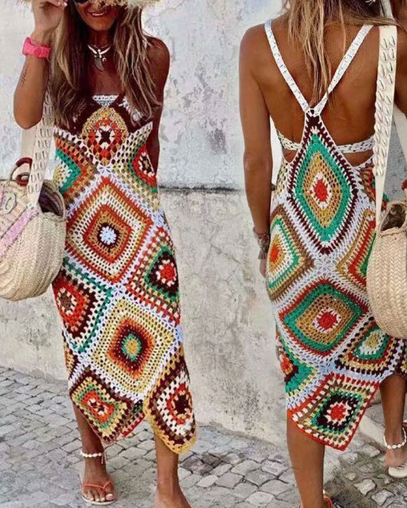 Backless Handmade Crochet Sling Dress