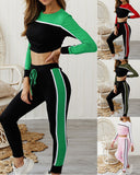 Round Collar Lace-up Long Sleeve Two-piece Stitching Color Sport Set Home Workout Fitness