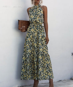 Floral Yellow Bohemian Boho Printed Hanging Neck Straps Maxi Dresses