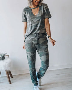 Round Neck Short Sleeve Trousers Two-piece Camouflage Leisure Sportswear