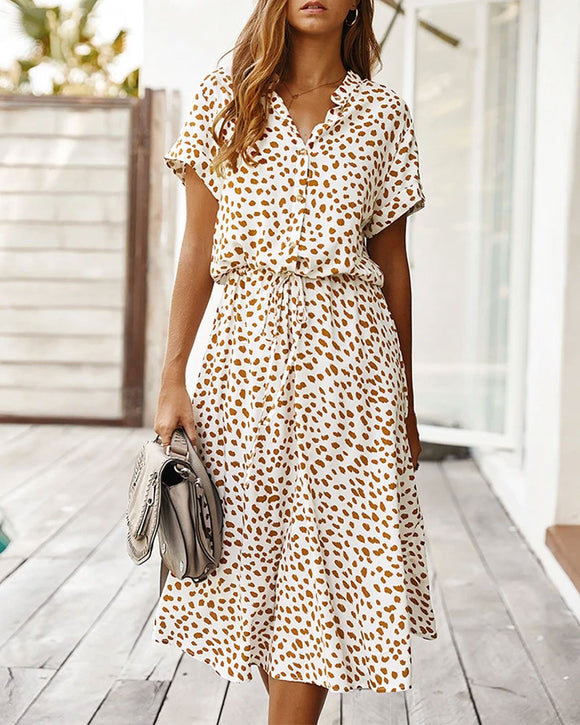 Casual Polka Dot Irregular Maxi Dress V-neck Short Sleeve