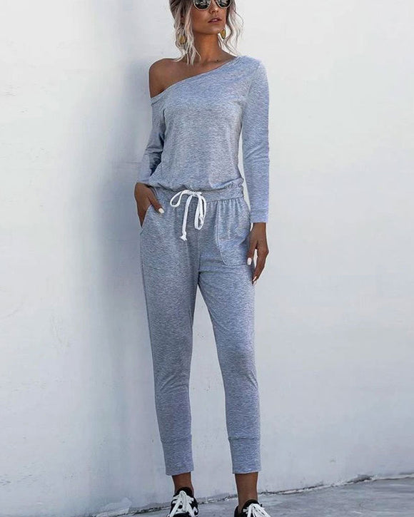 Diagonal Shoulder Lace-up Long Sleeve Casual Jumpsuit Rompers