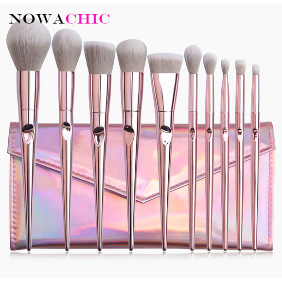 10pcs Pink Makeup Brushes Set With Bag Powder Foundation Blush Eyeshadow Lip Cosmetic Beauty Brush