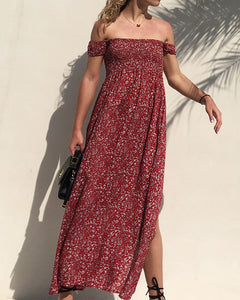 Off The Shoulder Split Leg Side Floral Maxi Dresses