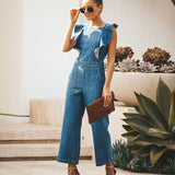 Lace-up Ruffled Denim Jumpsuit Backless Sleeveless Rompers