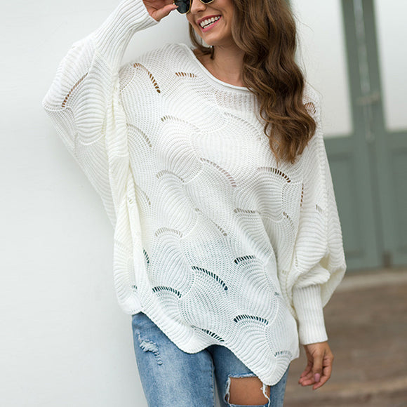 Women's Long Sleeves Hollow Loose Bat Sweater