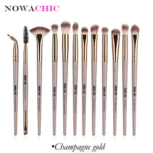 12pcs Pro Makeup Brushes Eyebrow Eyeshadow Eyeliner Blending Crease Kit Eyelash Brush