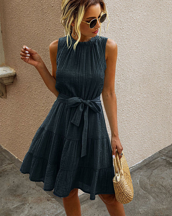 Womens Sleeveless Lace-up Pleated Dress Mini A Dress Blue