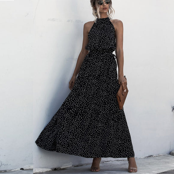 Black Wave Bohemian Boho Printed Hanging Neck Straps Maxi Dresses