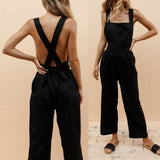 Womens Backless Sleeveless Suspenders Jumpsuit Breathable White Black