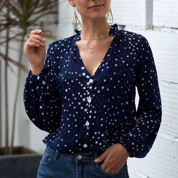 Women V Neck Single Breasted Star Pattern Printed Shirt